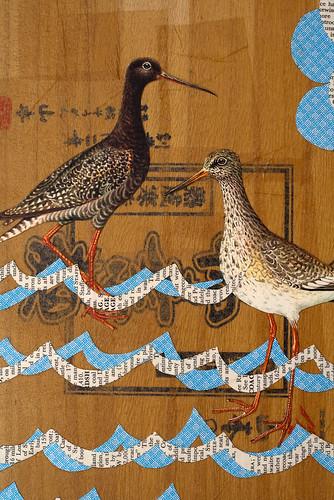 Upcycled Collage- wading birds-4
