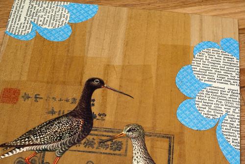 Upcycled Collage- wading birds-3