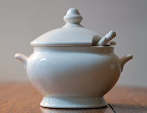 vintage white soup tureen japan