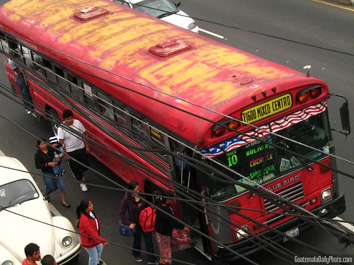 Boarding a Public Transit Bus in Guatemala City