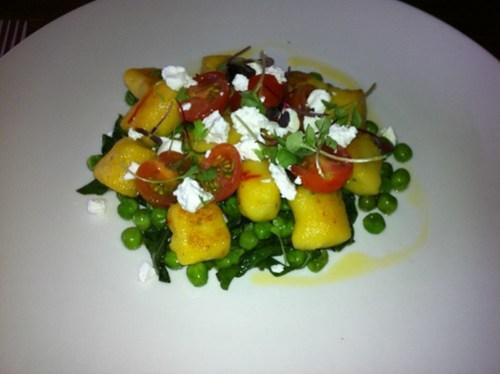 Panfried Saffron & Chive Gnocchi with tomato & feta - Clarences