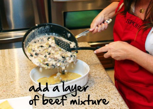 add a layer of 1/3 of your beef mixture