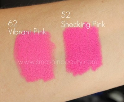 Barry M Lipstick 62 vibrant pink 52 shocking pink swatches