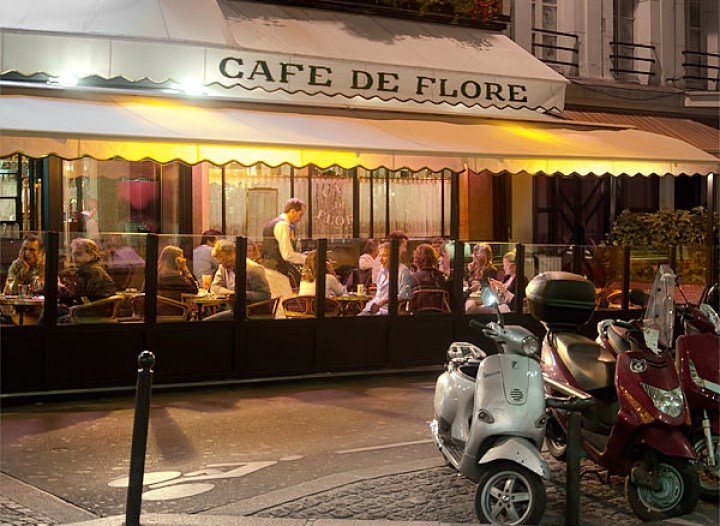 Cafe De Flore at night, Paris
