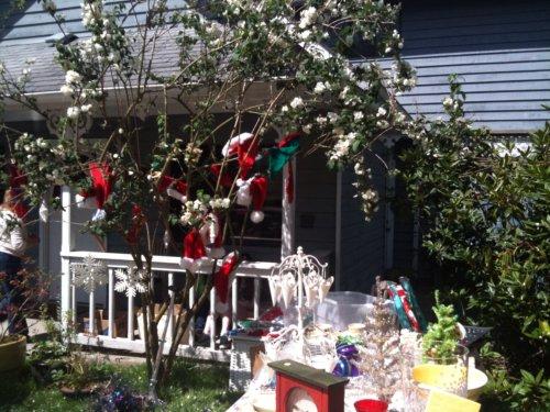 Tree full of Santa hats