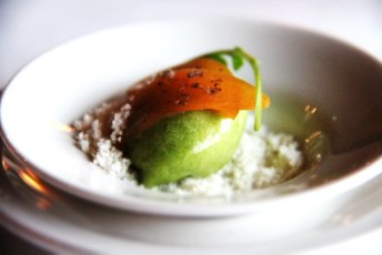 We can't honestly recall what this was save for it being a palate cleanser. I think it may have been watercress sorbet with powdered duck fat, but that's just a guess. Good though!