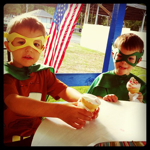 Ice cream with super heroes.