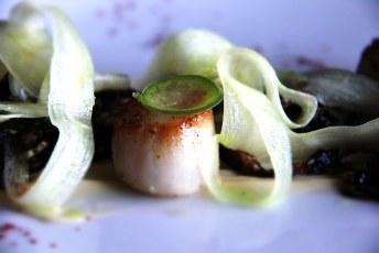 Aura | Seared Scallops with Kaffir Lime, Black Garlic & Cabbage, White Carrot, Bok Choy, Jalapeño, Kewpie Mayo