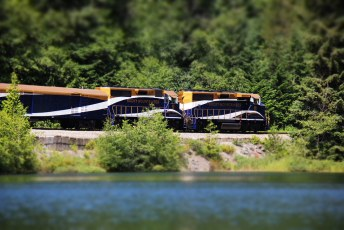 The Whistler Mountaineer slipping past (probably scaring the fish)