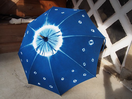 Aizome Kanoko Shibori 100% Cotton Parasol 藍染 日傘