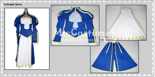 Fate Stay Night Blue Saber Cosplay Costume