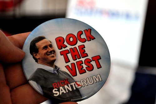 """Rock the Vest Button"" - Supporting Republican Presidential Candidate Rick Santorum"