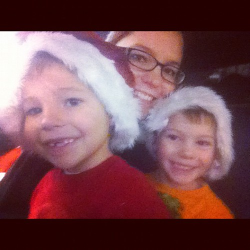 In the fire truck for the Christmas parade.