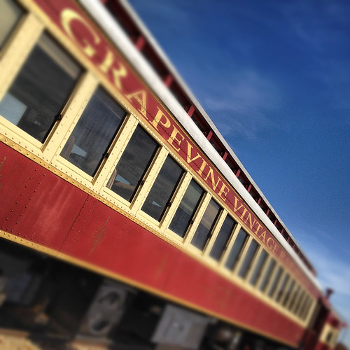 Vintage Car Red Blue Railroad Rail Cars Grapevine Texas Colorful Texture Rust Old-5188 by Dallas Photoworks