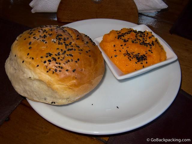 Fresh bread and pumpkin mash