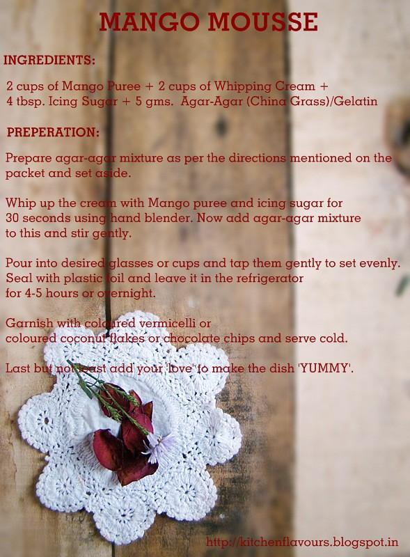Mango Mousse Recipe Card