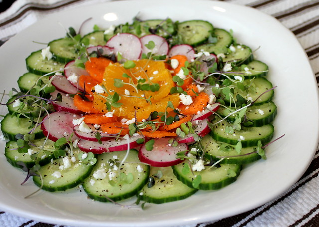 radishes, carrot and cucumber salad