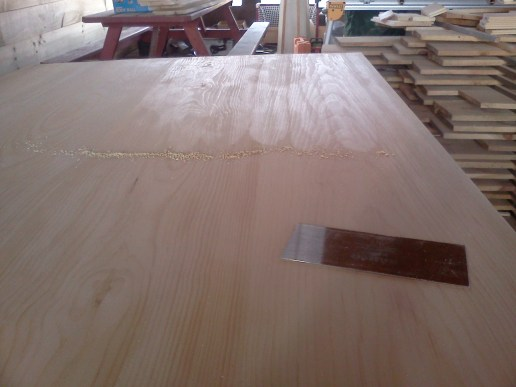 Panel, half scraped, see its shine?