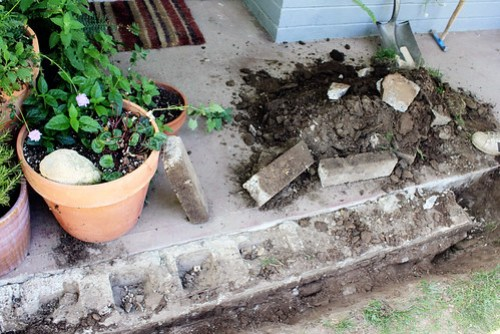 Removing the concrete block from front porch