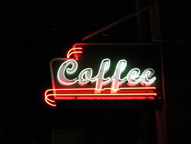 Neon Coffee Sign at Stumptown Coffee Roasters in Belmont