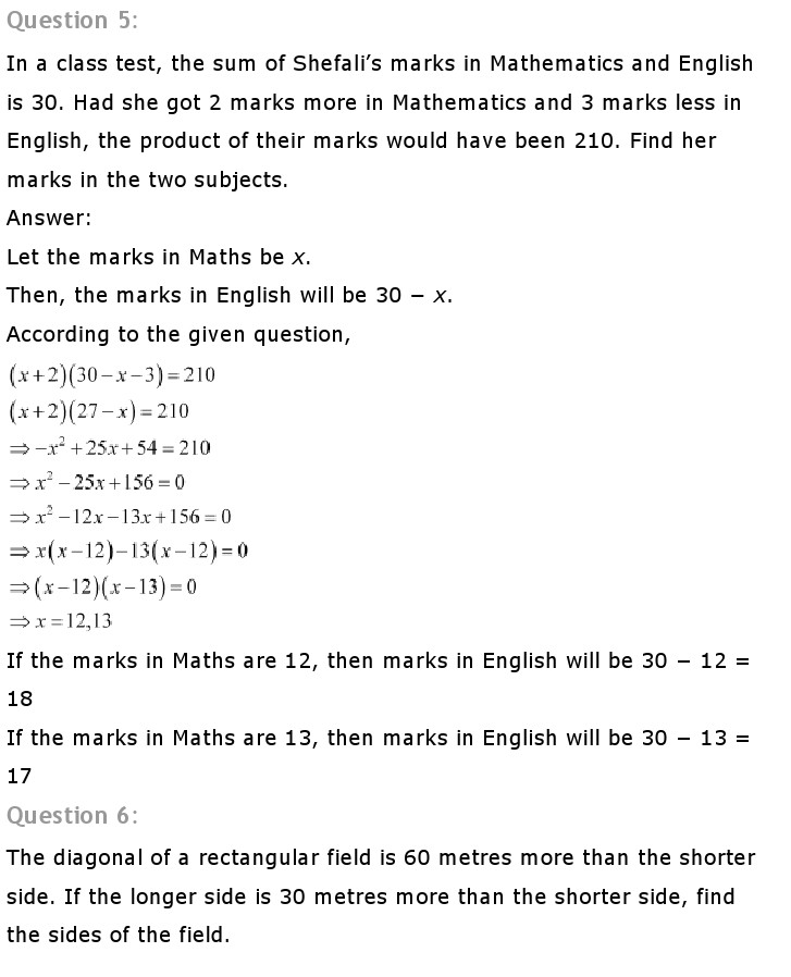 NCERT Solutions for Class 10th Maths: Chapter 4   Quadratic Equations