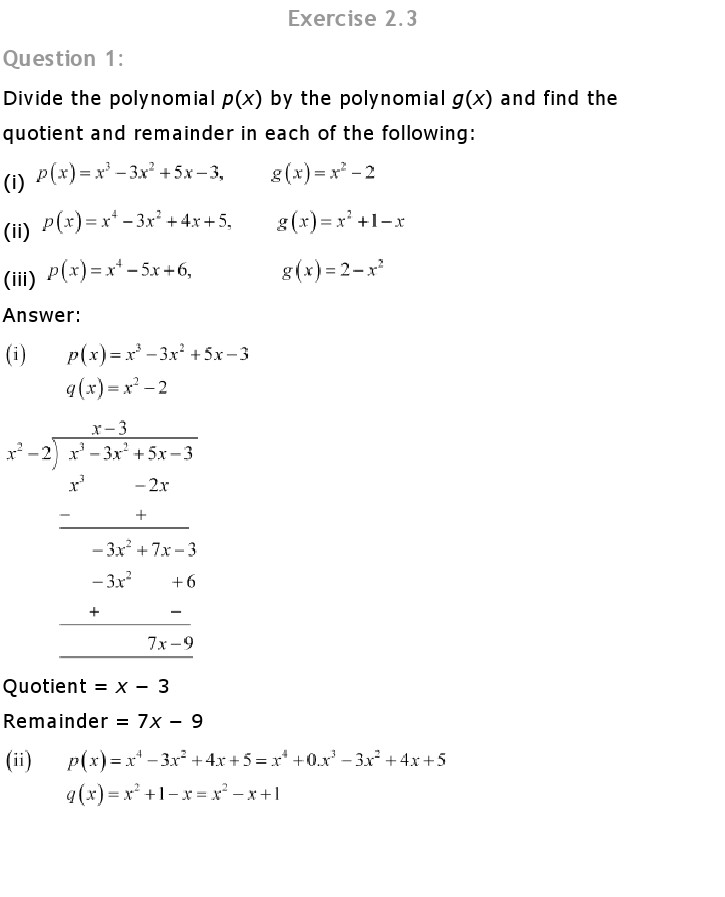 NCERT Solutions for Class 10th Maths Chapter 2 – Polynomials