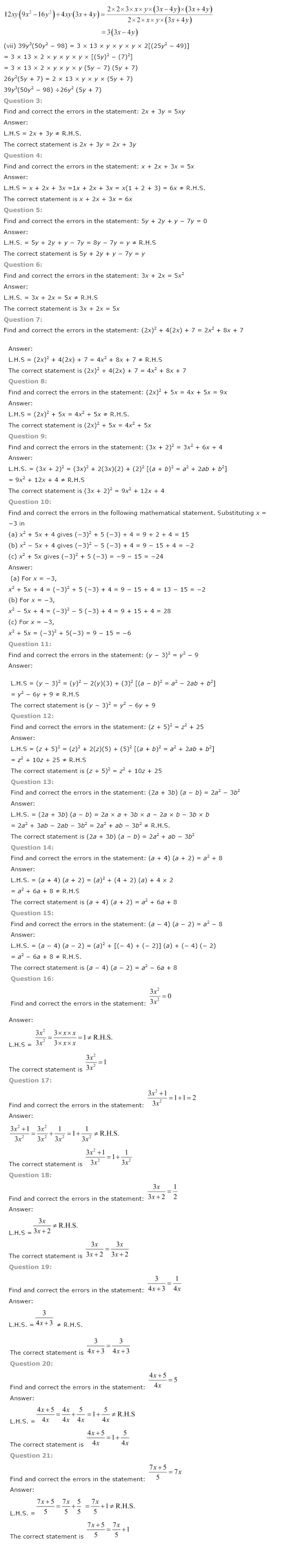 NCERT Solutions for Class 8th Maths Chapter 14 Factorisation