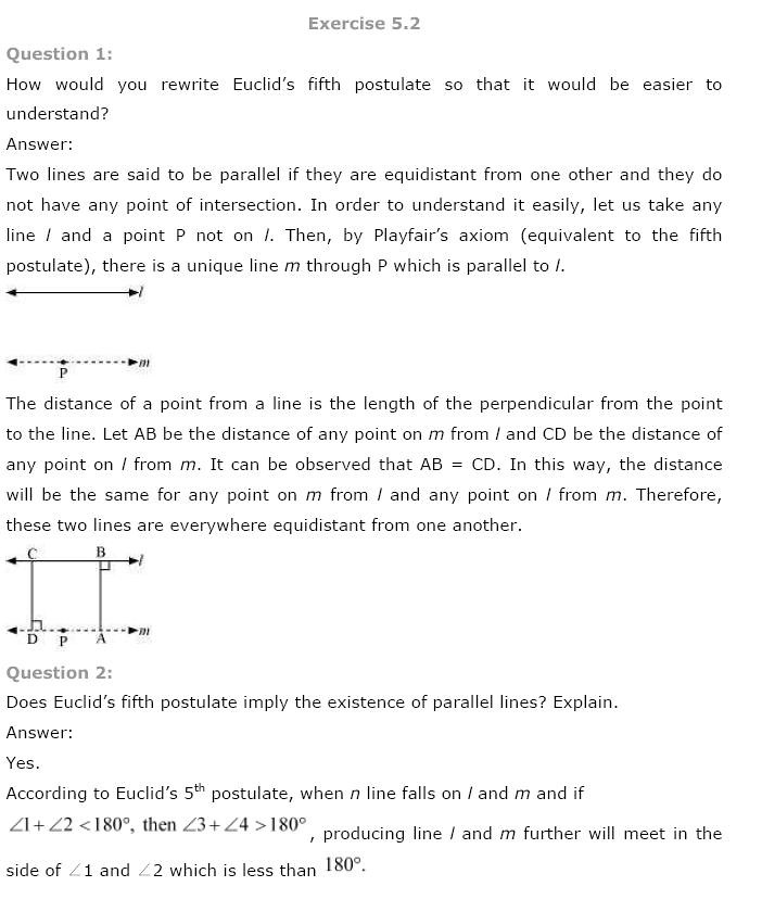 NCERT Solutions for Class 9th Maths: Chapter 5 Introduction to Euclids Geometry