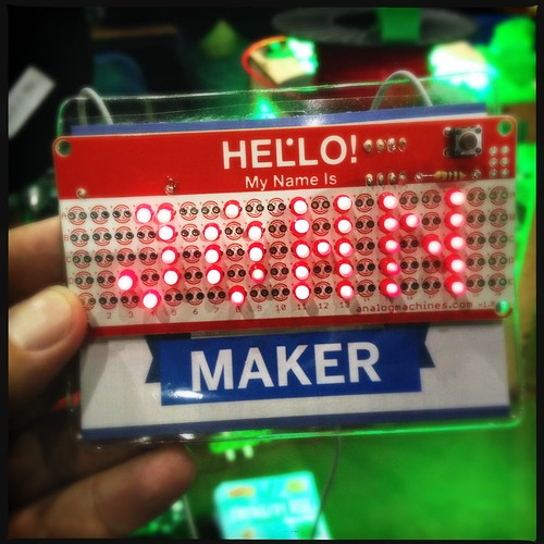 I may have soldered my own namebadge for #makerfairevan