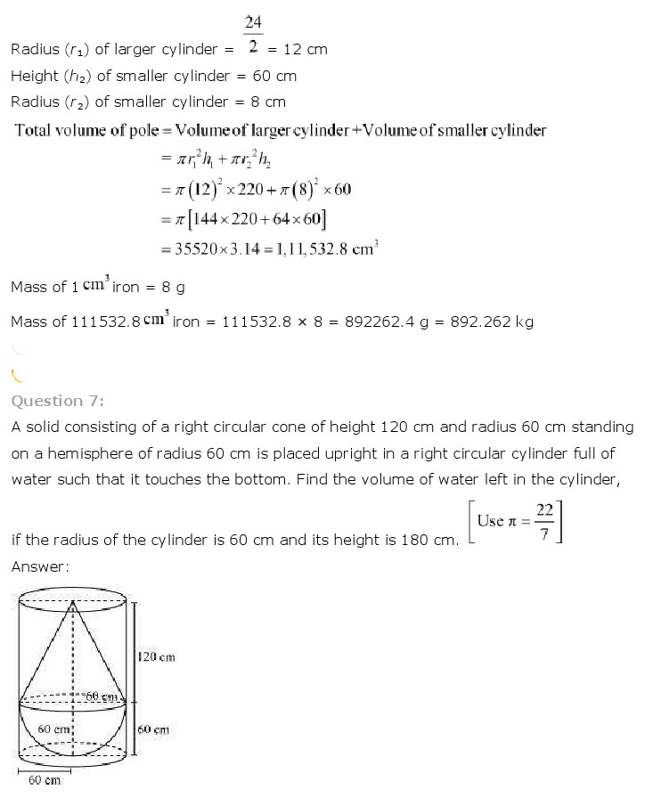 NCERT Solutions for Class 10th Maths: Chapter 13   Surface Areas and Volumes Image by AglaSem