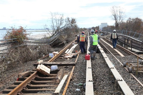 21. Contractors Rebuilding Washed out Tracks in Rockaways
