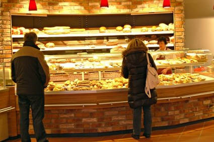 Customers at a German bakery