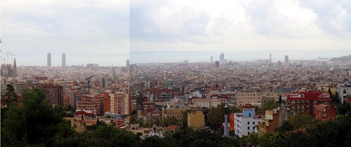 Panorama of Barcelona from Parc Güell, Park Guell, Barcelona, Spain