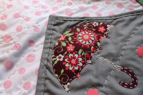 Umbrella from heart mini quilt