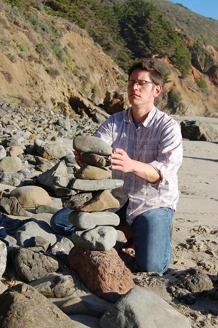 Matti balancing rocks.