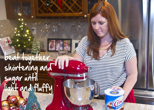 mix shortening and sugar until fluffy