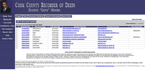 Recorder of Deeds Page for 1601 North Milwaukee Ave.