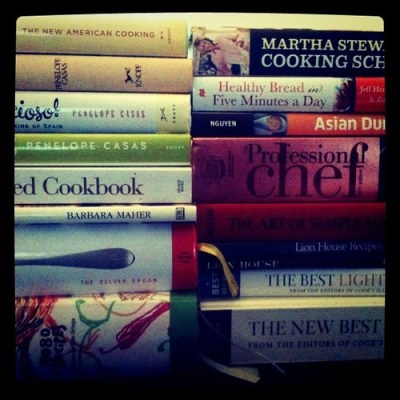Reorganizing the bookshelves... Must cook more!