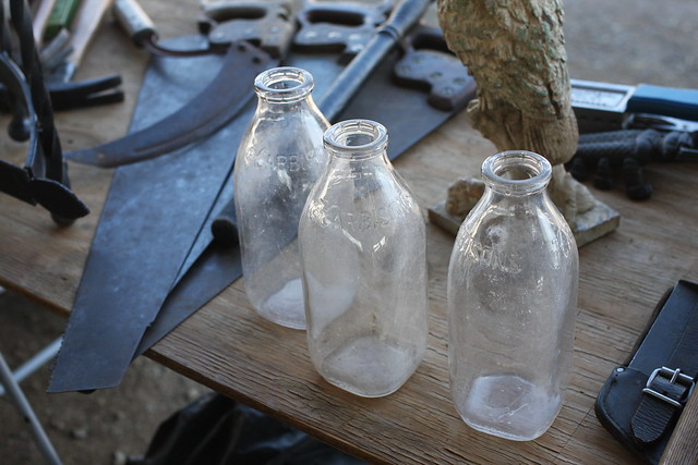 glass milk jugs at nashville flea