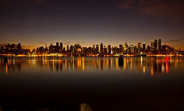 The New York City skyline just before sunrise December 17, 2011