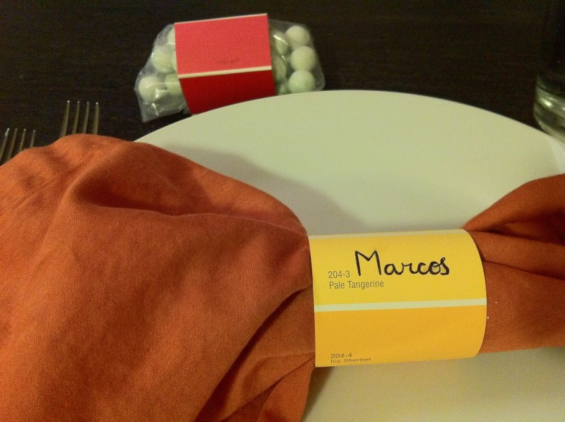Paint chip personalized napkin ring and favor wrap