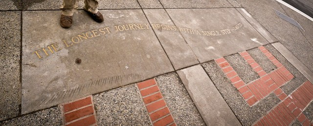 An appropriate pavement carving in Victoria, Vancouver Island