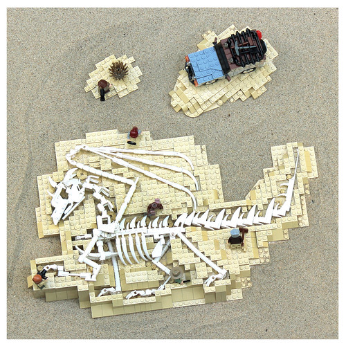 LEGO dragon bones diorama
