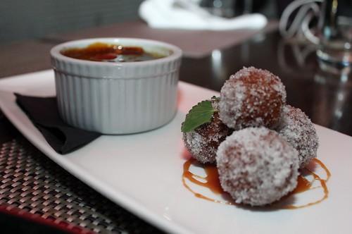 Vanilla Matcha Creme Brule   With Mini Sugared Donuts