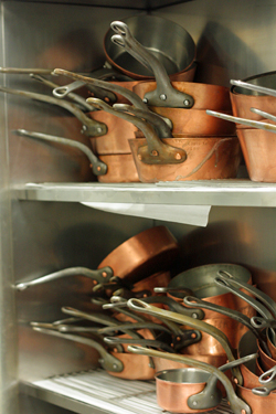 copper pans at Alain Ducasse