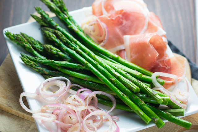 Roasted Asparagus with Prosciutto and Pickled Shallots