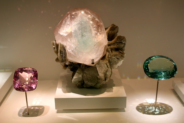 I think these are Beryl? the pink is Morganite.