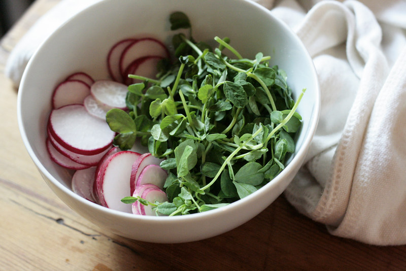 radish and pea shoot crostini. – Reading My Tea Leaves ...