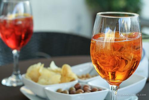 Aperol and Campari spritz aperitivo, Alberobello, Puglia