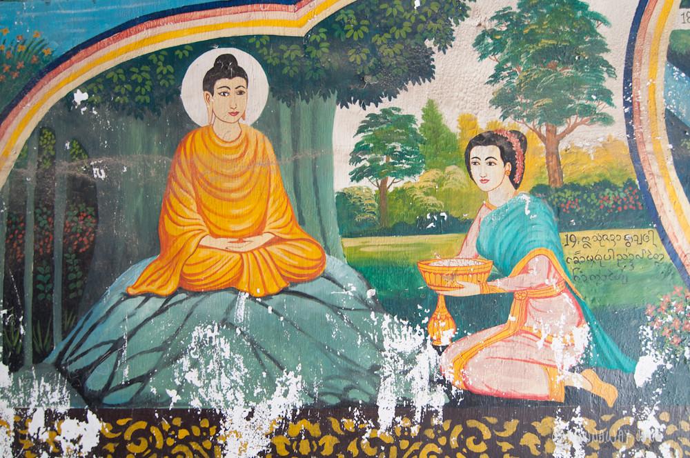 Wall painting at the temple-Jataka, the life history of Buddha